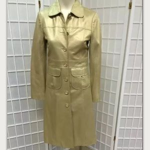 Laundry, woman, coat, leather, gold, size 4.: